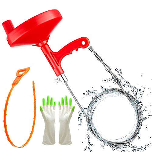 Plumbing Snake Drain Auger, 25 Ft Flexible Sink Snake, Pipe Snake, Drain Clog Remover for Bathroom Kitchen Sink, Shower Drain, Sewer Tool, Comes with Gloves and 1 Pack Plastic Hair Snake ……