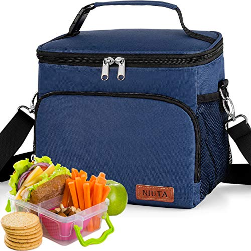 NIUTA Insulated Lunch Bag for Men/Womens, Lunch Box, Upgraded version Double Deck Reusable Lunch Pail (blue)