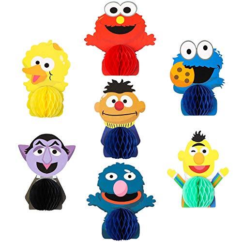 BeYumi 7Pcs Sesam Waben Mittelstücke Tisch Topper, doppelseitige Elmo Cookie Monster Tischdekorationen Sesam Partei gefälligkeiten Foto Booth Requisiten für Kinder