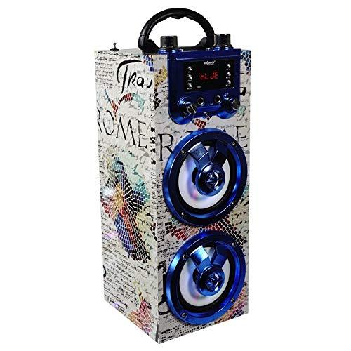 Altavoz portátil con función Bluetooth y Karaoke. Cuenta con una Potencia de 3W y Luces Disco. Incluye micrófono, Mando a Distancia y Adaptador de Carga USB.