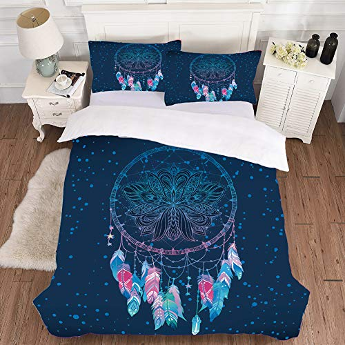 LYZL Bedding Set Bohemia Duvet Cover Sets Wolf/dream catcher print Single/Double Bedclothes 1 Quilt Cover (zipper closure) with 2 Pillowcases, No Bed Sheet,B,200×200cm