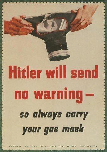 Gs-Maske, Keine Warnung Propaganda poster aus dem 2. Weltkrieg