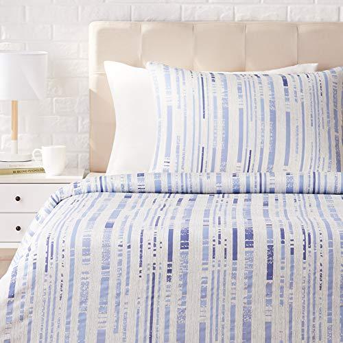 AmazonBasics - Juego de ropa de cama con funda de edredón, de satén, 135 x 200 cm / 50 x 80 cm x 1, Azul a rayas texturizado