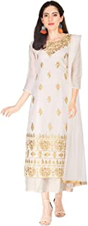 STOP By Shoppers Stop Womens Round Neck Embroidered Palazzo Suit