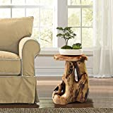 """Greenage Cedar Roots Natural Flower Stand Reclaimed Woods End Table, 13.5"""" x 15.5"""" x 19.5"""" Height"""