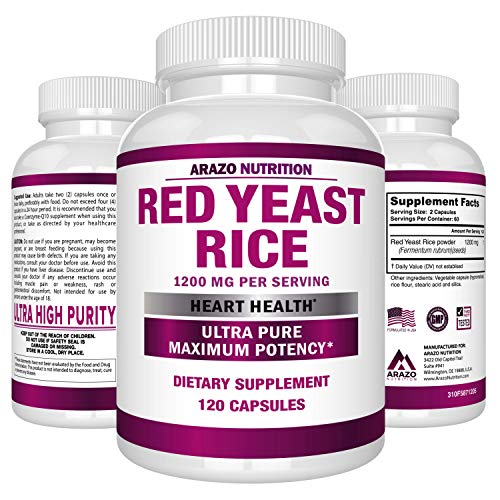 Red Yeast Rice Extract 1200 mg – Citrinin Free Supplement – Vegetarian 120 Capsules - Arazo Nutrition