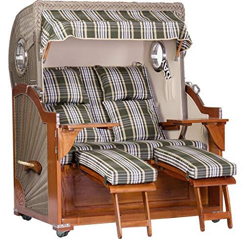 Luxus Mahagoni XXL Strandkorb Volllieger für 2 Personen aus Hartholz Grün-Weiß-Beige Kariert - Aufgebaut und Einsatzbereit Strandkorbwelt365