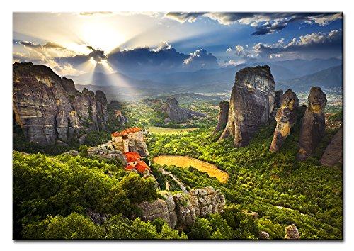 Berger Designs® - Premium Wandbild auf Leinwand als Kunstdruck in verschiedenen Größen und Motiven. Beste Qualität aus Deutschland (80 x 60 cm BxH, Meteora Gebirge in Griechenland)