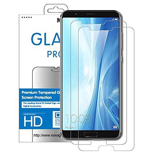 NOVAGO Huawei Honor View 10-Pack de 2 Films Protection écran en Verre trempé résistant 0.26mm 9H (Transparent)