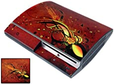 Bundle Monster Vinyl Skins Accessory For Sony Playstation PS3 Game Console - Cover Faceplate Protector Sticker Art Decal - Red Lava