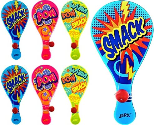 JA RU Paddle Ball with String Pack of 6 Real Quality Paddle Balls Classic Game Plus 1 Collectable product image
