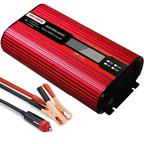 SGSG Inversor de Corriente para inversor de Onda sinusoidal fotovoltaica DC 12V / 24V a 110V / 220V / 230V AC Cargador inversor, Puerto USB, Fuente de alimentación de Emergencia doméstica/fuent