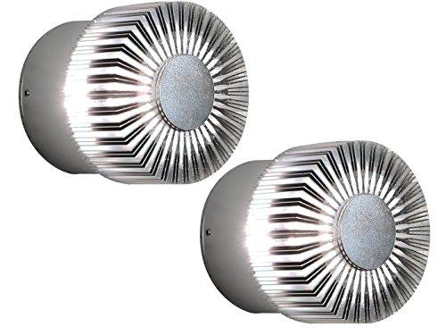 Konstsmide Lot de 2 Leuchten Monza murale ronde pour joli Éclairage, 3 W, IP44, aluminium massif – 7900–310