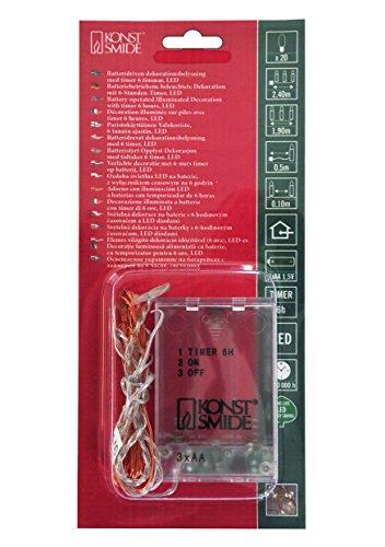 Konstsmide, 1460-860, Micro LED Lichterkette, 6h Timer, 20 bernsteinfarbene Dioden, batteriebetrieben, Innen, kupferfarbener Draht