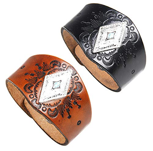 crintiff - Leather Cuff Wristband Bracelet for Men and Women with Triangle Turquoise - Color Black and Brown