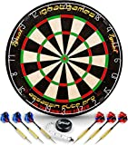 Professional Dart Board Set - Bristle/Sisal Tournament Dartboard with Complete Staple-Free Ultra Thin Wire Spider + 6 Steel Tip Darts + Darts Measuring Tape + Darts Guide (Assassin Blade Pro)