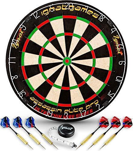 IgnatGames Professionelles Dartscheiben-Set – Borsten/Sisal Turnier-Dartboard mit komplettem klammerfreien Ultra Thin Wire Spider + 6 Steel Tip Darts Maßband + Darts Guide, Assassin Elite Pro