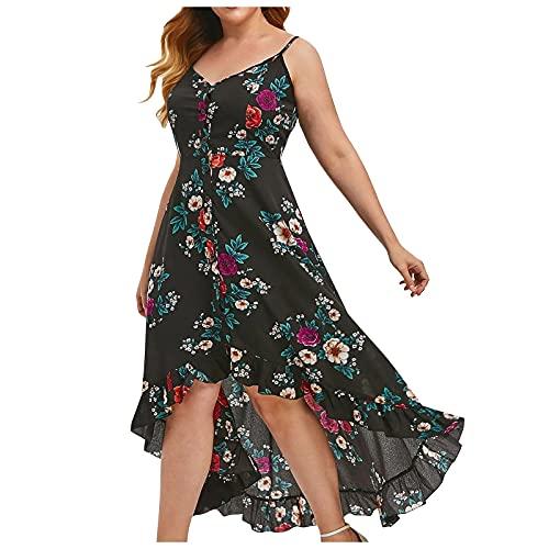 FQZWONG Women's Plus Size Wrap V-Neck Floral Print Short Sleeves Dress Fashion Casual Maxi Dress for Party Dating (D-Black,X-Large)