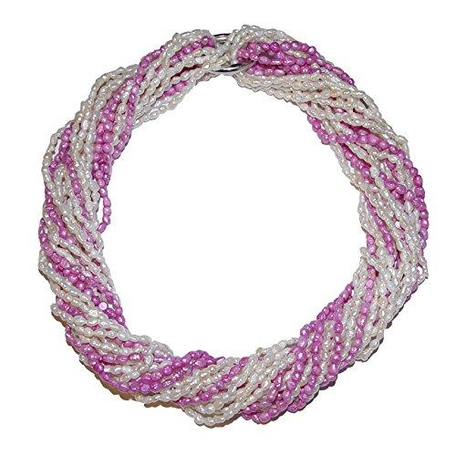 10 Stück Biwa natur gewachsene Süßwasser Perlen Ketten = 1 Collier je einzelne Kette ca. 90 cm 7x rohweiß und 3 x pink incl. 2 x Kettenverschluss