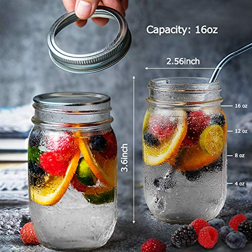 Product Image 2: Sungwoo Mason Jars 16 Oz Regular Mouth Canning Jars with Sealed and Straw Lids for Jam Honey Snacks Candies (12 Pack)