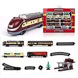 ANAN Locomotoras a Vapor con luz y Sonido, 55 Partes maquetas de Trenes, Tren Vapor eléctrico Longitud de Pista 370 Pulgadas, Locomotora para modelismo ferroviario, Juguete de Tren