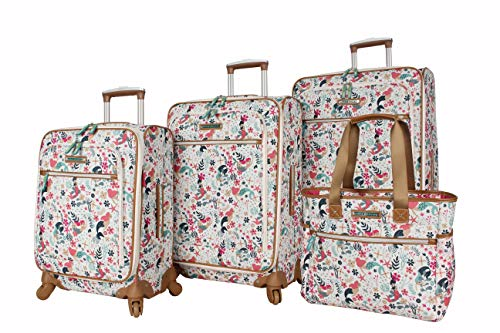 Lily Bloom Luggage Set 4 Piece Suitcase Collection With Spinner Wheels For Woman (Sea Garden)