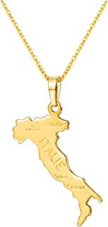 Nation Map Pendant Patriotism Jewelry 18K Gold Plated Necklace Pendant with Adjustable Rolo Chain