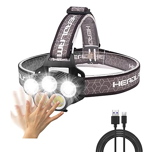 Linterna Frontal LED Recargable USB, 2500 Lúmenes Linterna Cabeza Sensor de Movimiento con 6 Modos, Impermeable IPX5 Luz Frontal Cabeza para Campismo, Senderismo, Ciclismo, Pesca