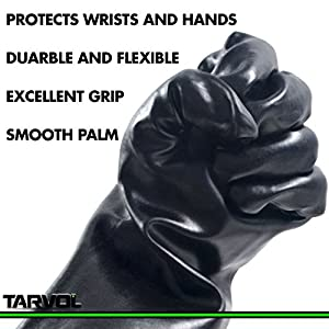 Chemical Resistant PVC Gloves (HEAVY DUTY INDUSTRIAL GRADE) Long Cuff Provides Wrist & Forearm Protection - Perfect for Cleaning and Protection from Acid, Grease, Oil, Lab, Solvents, & More!