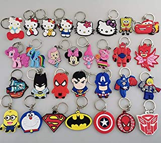 Melleco 30pcs Keychain Key Rings Superhero Cartoon Characters Cute Goodie Bag Stuffer Christmas Gift Holiday Charms for Boy Girl Party Favors School Reward Prize Box Decoration