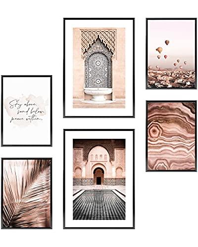 Heimlich Cuadros Decorativos - SIN Marcos -Decoración Colgante para Paredes de Sala, Dormitorios y Cocina - Arte Mural - 2 x A3 & 4 x A4-30x42 & 21x30 | » Arquitectura Globo Oriental «