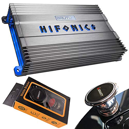Hifonics BG-1300.1D 1300 Watts Brutus Gamma Mono Subwoofer Car Audio Amplifier with Gravity Magnet Phone Holder Bundle