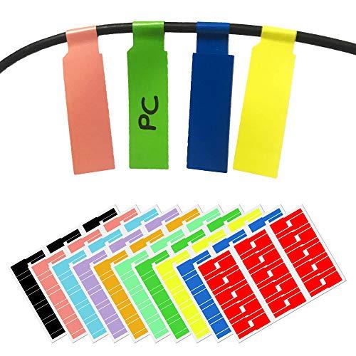 10 Colori, 300 Pezzi, Etichette per Cavi Autoadesivi, Formato A4 per Stampante Laser, Impermeabile Resistente Agli Strappi