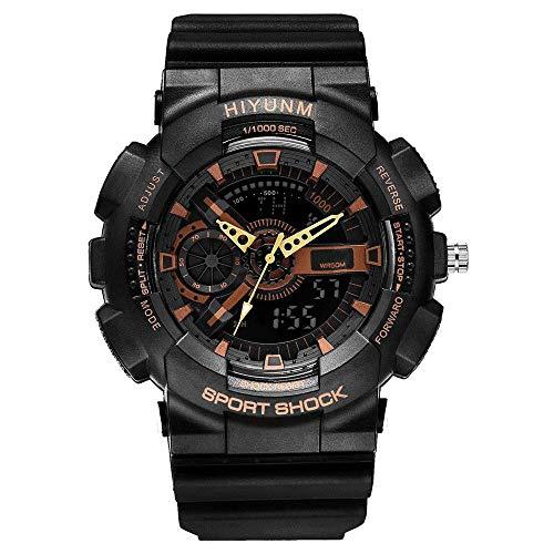 Relojes de moda para hombres, reloj electrónico para montañismo al aire libre con doble pantalla, reloj de pulsera militar para deportes y ocio, relojes analógicos multifunción luminosos con LED