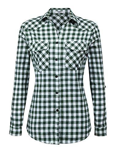 UNibelle Kariertes Hemd Damen Langarm Karohemd Bluse Damen Baumwolle mit Einstellbare Ärmeln(Grasgrün,M)