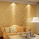 Papel pintado,Papel pared dorado ,Papel pintado pared impermeable,Papel tapiz 3d de lujo Absorbente sonido para salón, dormitorio, bar,comedor10 m x 0,53 m