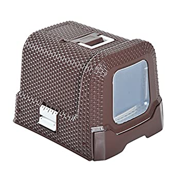 Pawhut Maison de Toilette pour Chat tiroir à litière Coulissant Porte battante Filtre Odeur + Pelle fournis 54L x 42l x 41H cm Chocolat