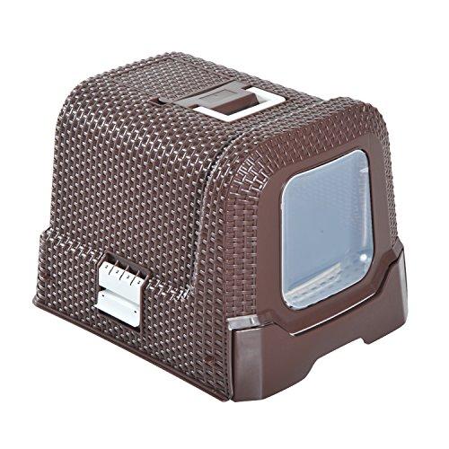 Pawhut Katzentoilette mit ausziehbarer Schale, Katzenklo mit Schaufel, Tragbar, PP, Kaffee, 54 x 42 x 41 cm