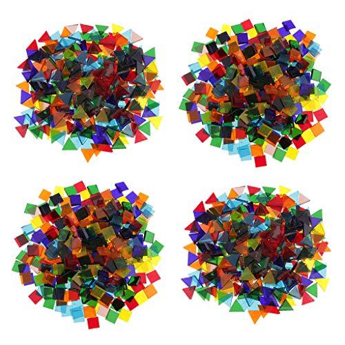 Harilla Azulejo de Mosaico de Vidrio Cuadrado Triangular Claro Mezclado 640g Tessera Art Craft