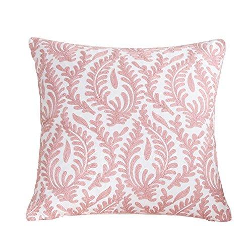 treestar 1pcs arte bordado de color rosa rama de coral cuadrado protección de almohada Funda de almohada Funda de almohada de 45x 45cm
