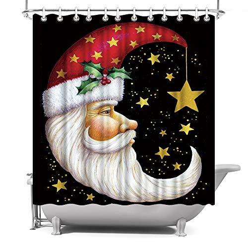 ArtBones Weihnachts-Duschvorhang Weihnachtsmann Weihnachtsmann Crescent Opa Neujahr Geschenk Stoff Stoff Bad Bad Vorhang mit Haken 182,9 x 182,9 cm (Schwarz, Rot)