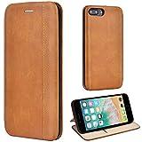 Leaum iPhone 7 Plus Hülle, iPhone 8 Plus Handyhülle Lederhülle Flip Hülle für Apple iPhone 7 Plus / 8 Plus 5,5 Zoll Schutzhülle Leder (Braun)