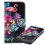 Laybomo Etui Xiaomi Pocophone F1 Housse Etui PU Cuir Pochette Portefeuille Aimant Protecteur Flip Cover Doux TPU Silicone Coque pour Xiaomi Pocophone F1 avec Slot pour Carte, Flamingo Imprimé