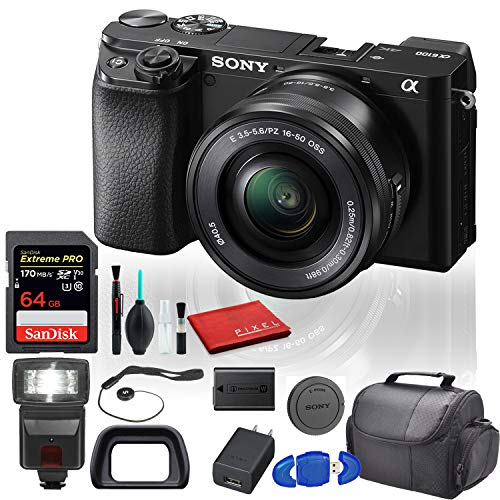 Sony Alpha a6100 Mirrorless Digital Camera (ILCE6100L/B) with 16-50mm Lenses with Flash, 64GB Memory Card, Padded Bag, and More - Beginner Bundle