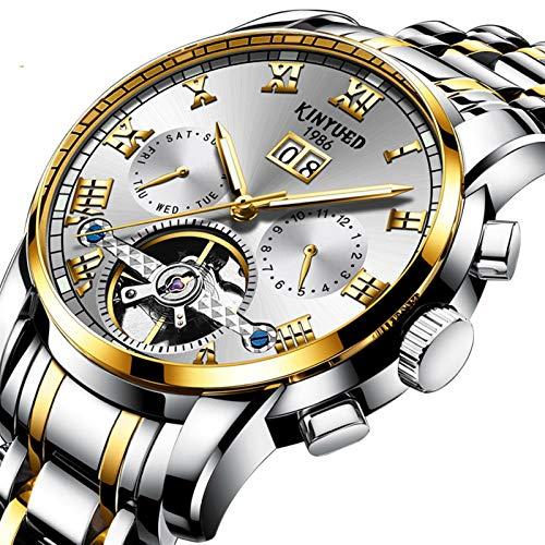 JTTM Reloj Automático De Pulsera Acero Inoxidable Impermeables Tourbillon Mecánico Regalos De Relojes para Hombres,Gold White