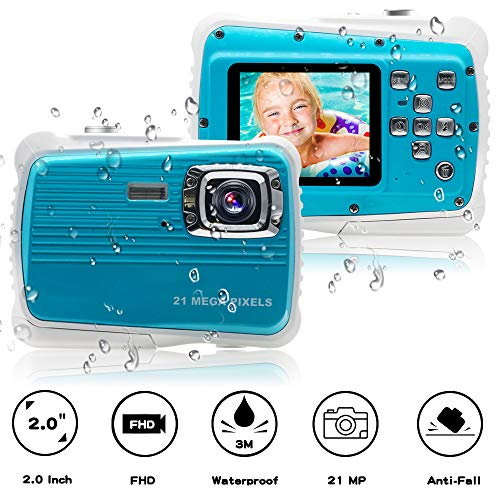 "[Updated 2019 Model] ISHARE Kids Camera, Waterproof Kids Camera Best Gifts for Girls/Boys 21MP HD Underwater Digital Camera with 2.0"" LCD, 8 X Digital Zoom, Flash and Mic (Blue)..."