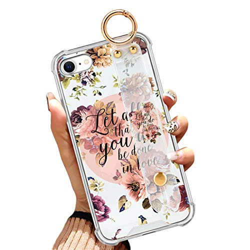 iPhone SE 2020, iPhone 7/8 Case Slim Anti-Yellow Clear Phone Case Full-Body Protective Cover with Design Christian Quotes Bible Verse Flowers Floral Shell with Wrist Strap/Band for Girls Women