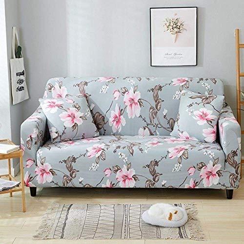 MIMORE - Funda elástica para sofá con diseño de flores, para sala de estar, funda de sillón en forma de L, 1/2/3/4, 24 colores, modelo 3,4 asientos