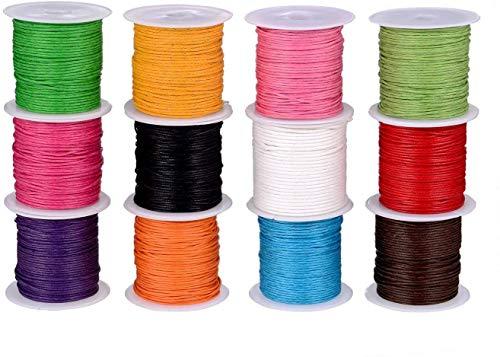 Cordón Encerado,Cera Trenzado Cordón 12 Rollos 10m x 1mm Vistoso Hilo de Cuerda Cuerdas Joyería Cordón Cable para Collar DIY Collar Pulsera Fabricación de Artesanía