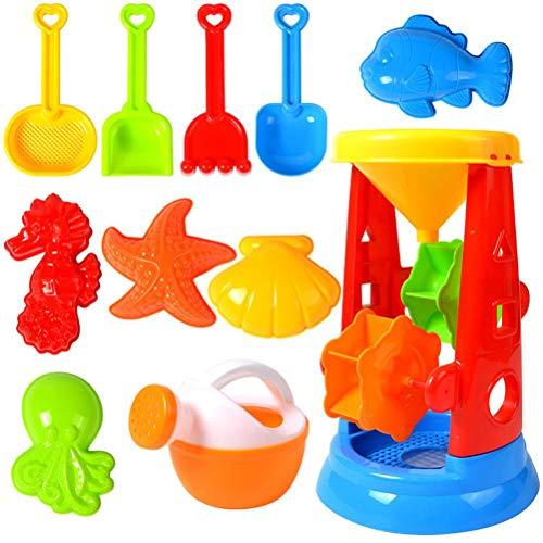 Juego de juguetes de playa de 11 piezas, juego de arena con carrito de 4 ruedas, herramientas de pala de arena y 5 juguetes de animales para niños